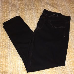 J. Crew black toothpick jeans with brown stitching